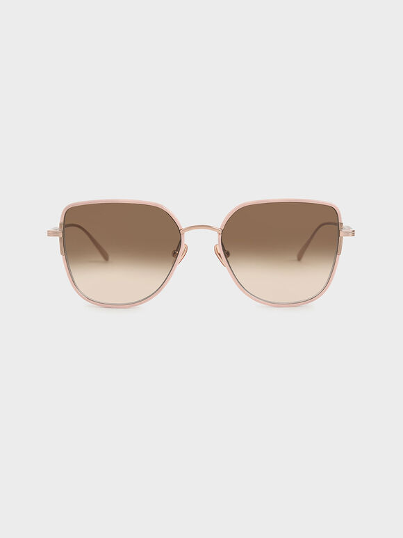 Cut-Out Frame Butterfly Sunglasses, Pink, hi-res
