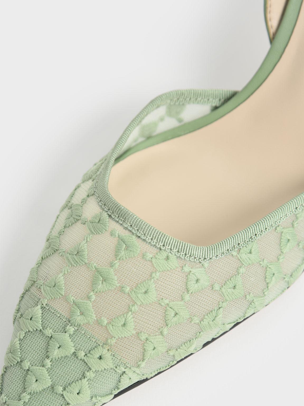 Lace Slingback Pumps, Green, hi-res