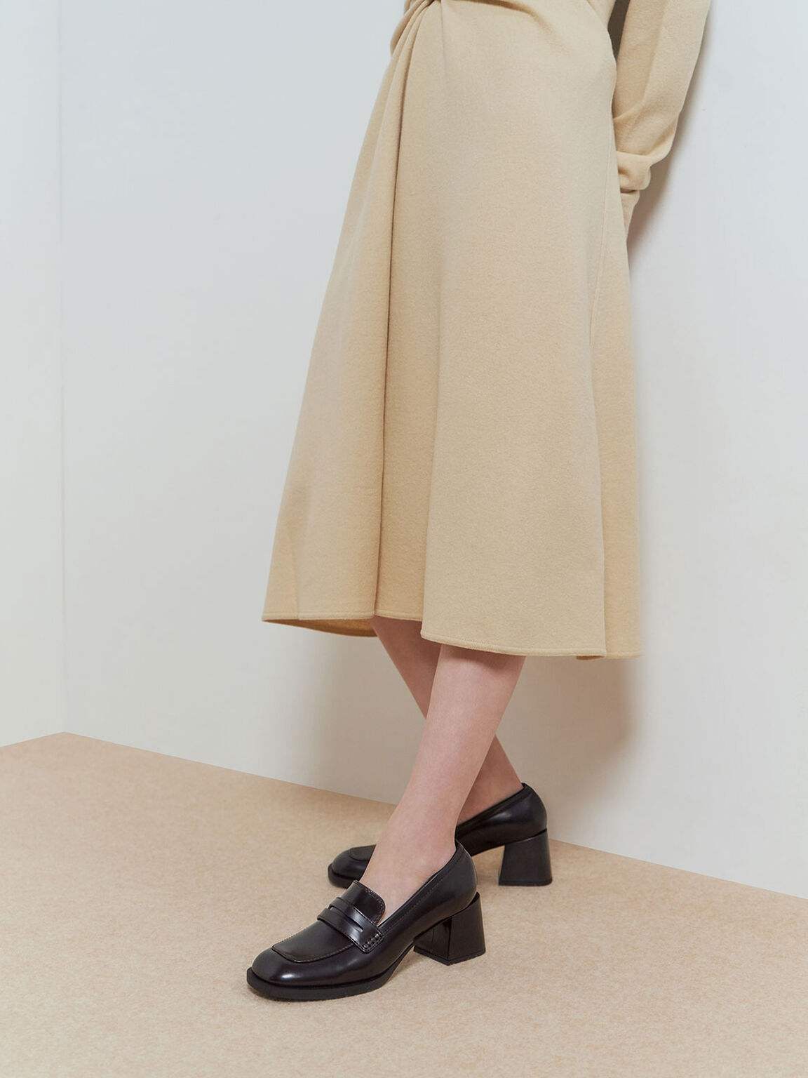 Penny Loafer Court Shoes, Burgundy, hi-res