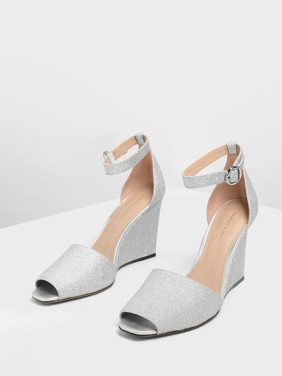 Glitter Peep Toe Wedges, Silver, hi-res