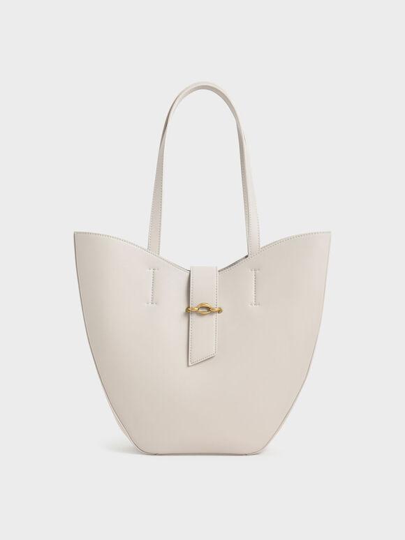 Belt Buckle Strap Large Tote Bag, Ivory, hi-res