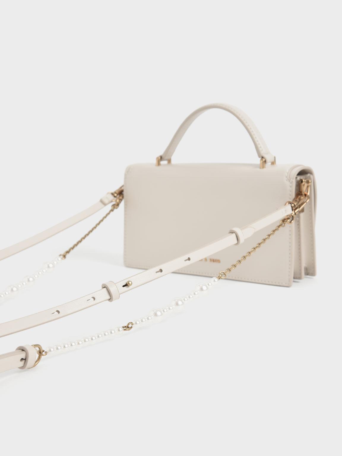 Top Handle Chain Link Long Wallet, Cream, hi-res