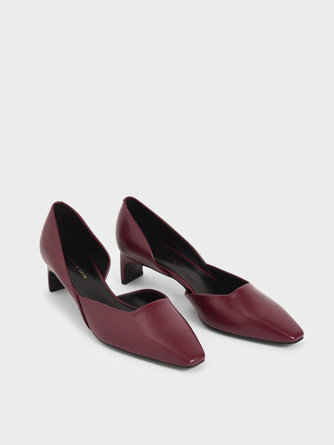 Square Toe D'Orsay Court Shoes, Burgundy, hi-res