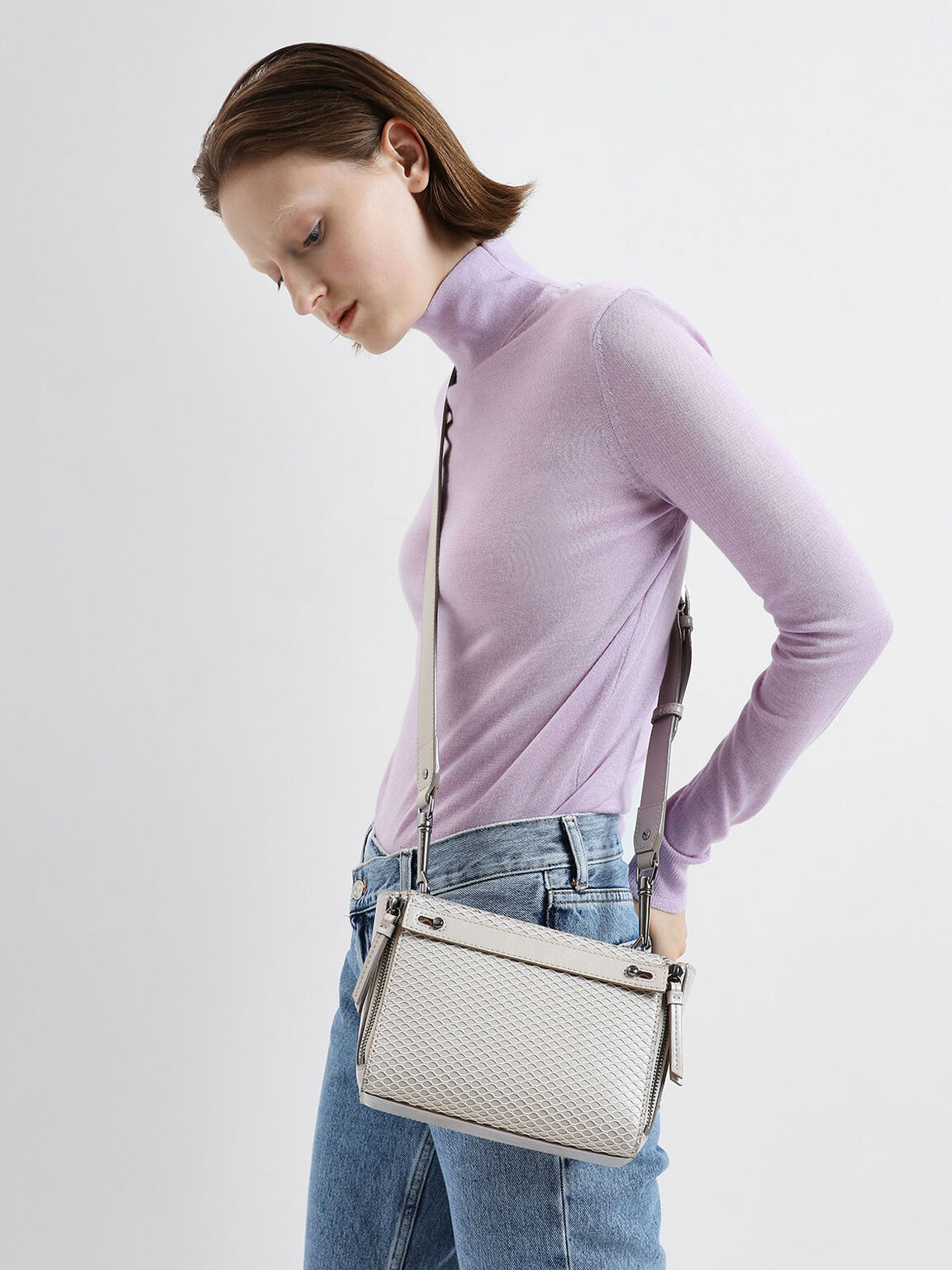 Rectangle Mesh Crossbody Bag, Cream, hi-res