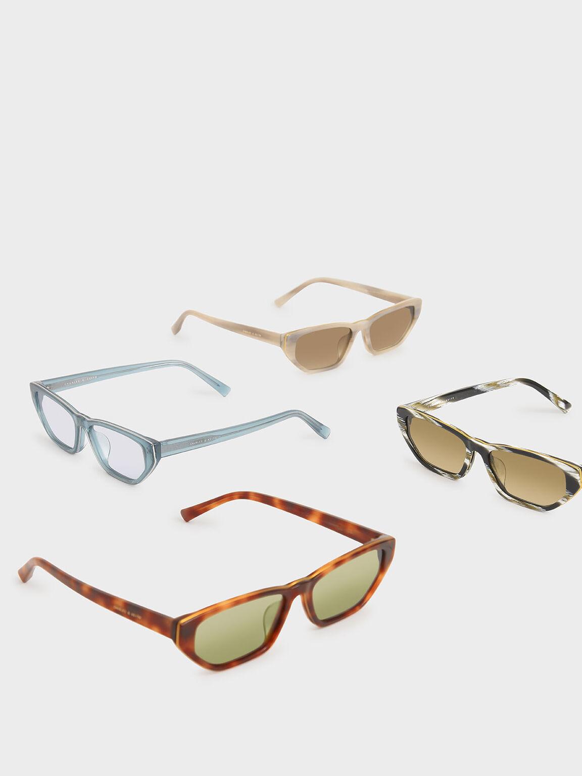 Acetate Cat-Eye Sunglasses, Blue, hi-res