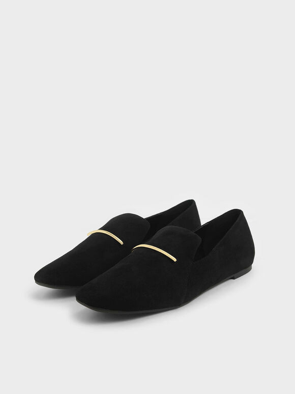 Textured Embellished Loafers, Black, hi-res