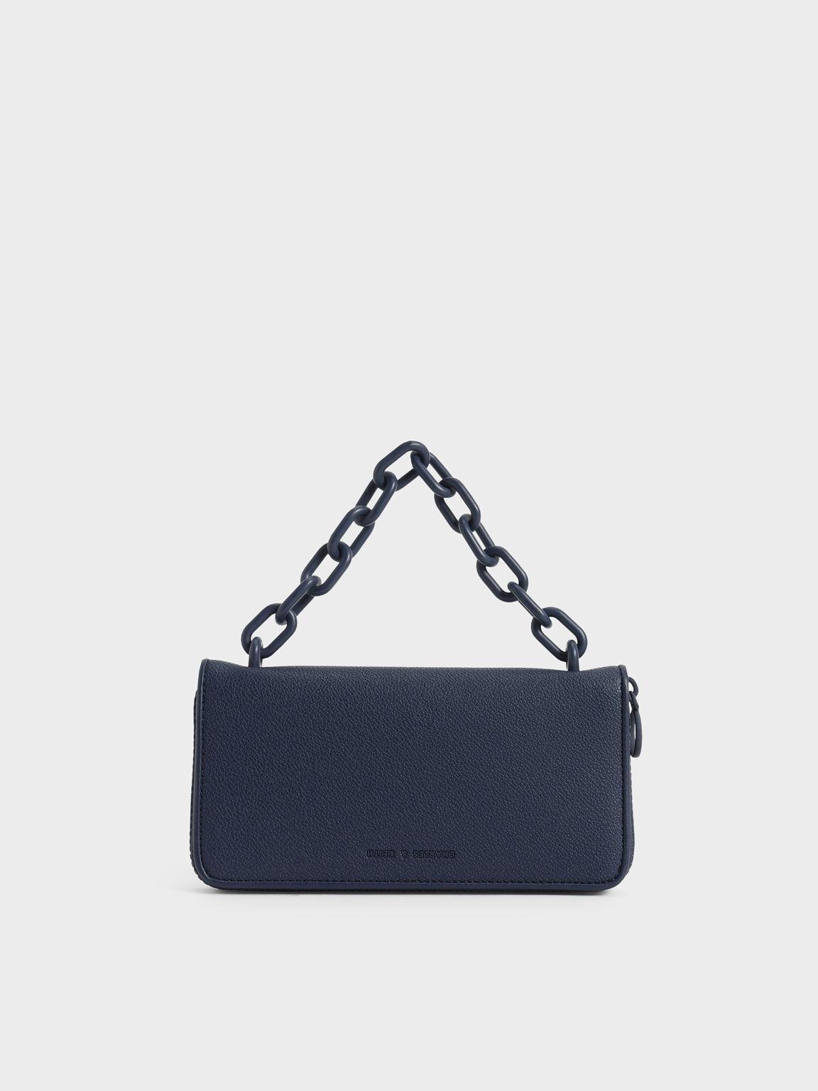 Chain Link Long Wallet, Navy, hi-res
