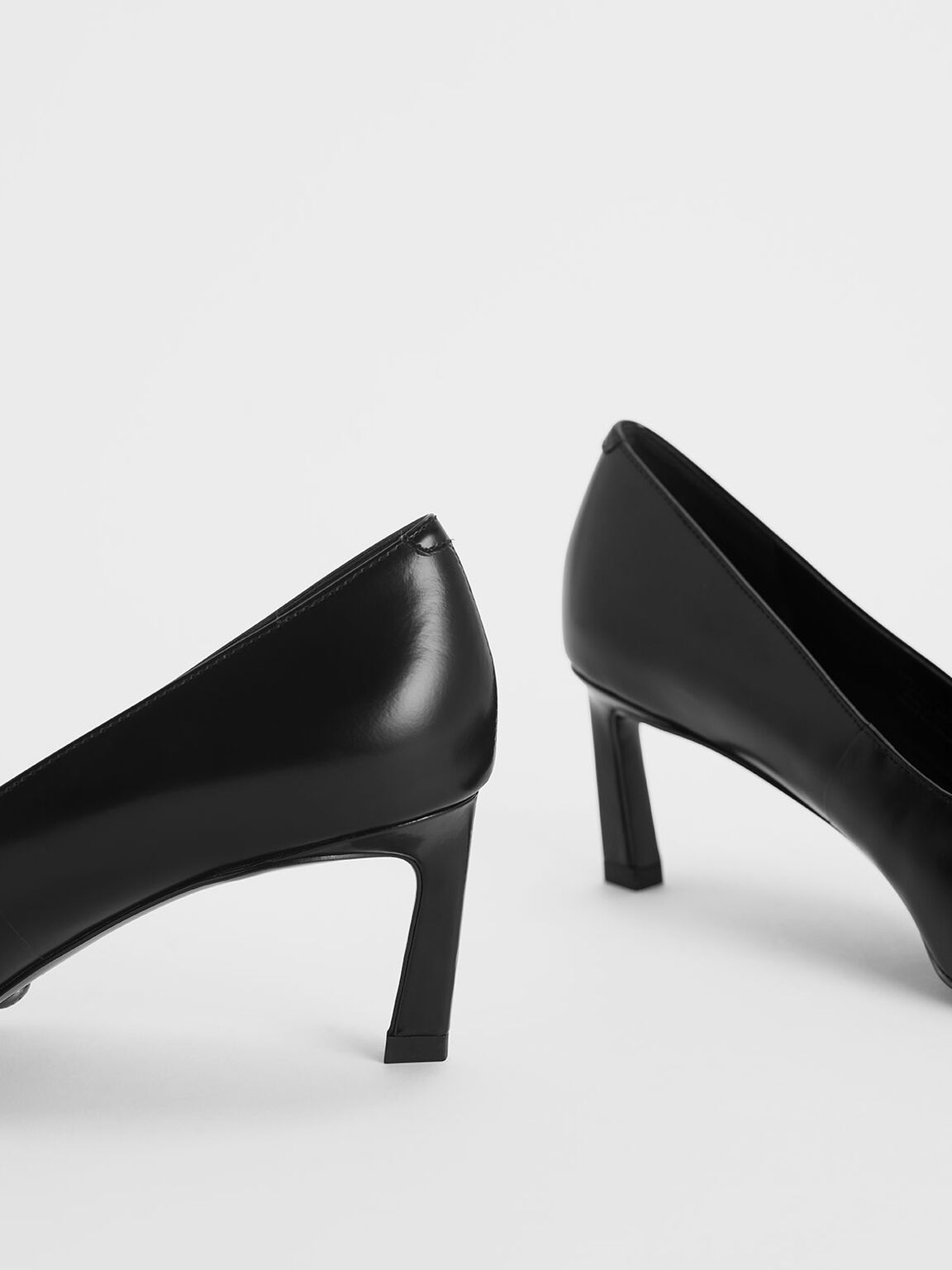 Asymmetric Leather Pumps, Black, hi-res