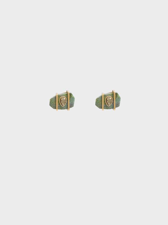 Chrysocolla & Pyrite Gemstone Teardrop Stud Earrings, Turquoise, hi-res