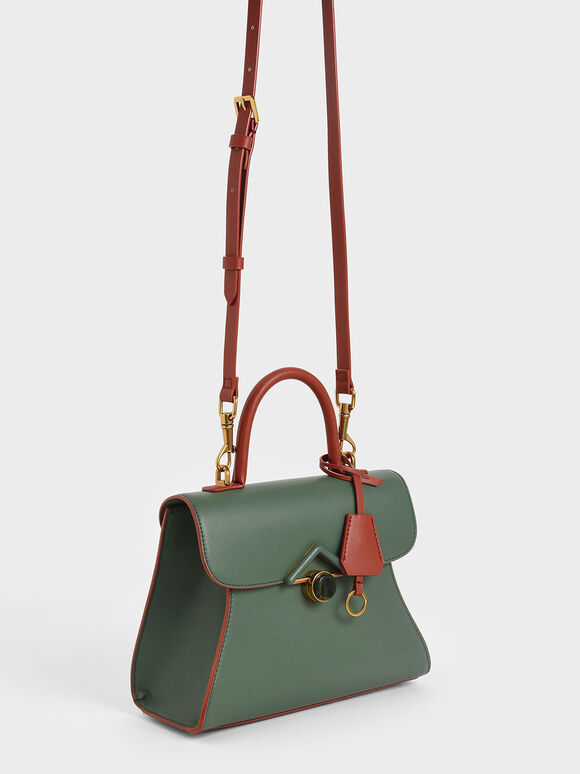 Stone Embellished Handbag, Green, hi-res
