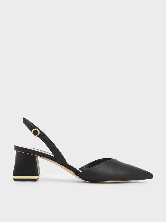 Trapeze Heel Slingback Court Shoes, Black, hi-res