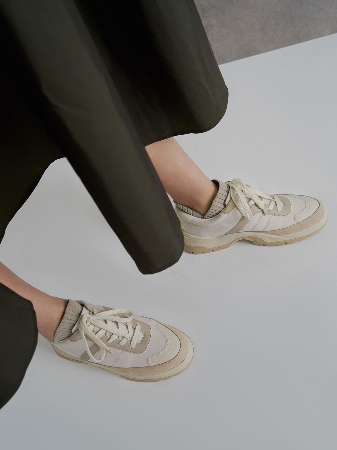 Two-Tone Chunky Trainers, Beige, hi-res