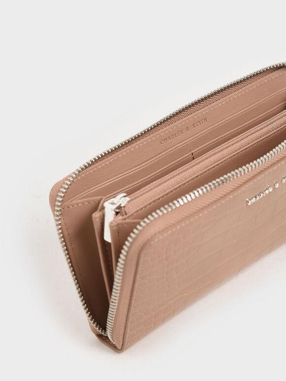Croc-Effect Mini Long Wallet, Blush, hi-res