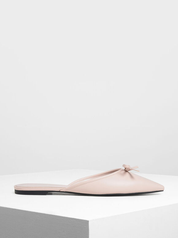 Bow Detail Mules, Pink, hi-res