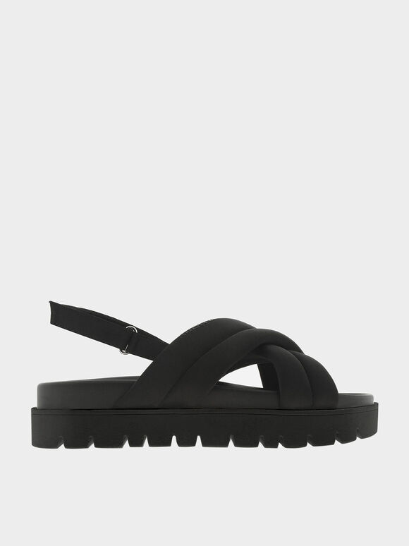 Recycled Polyester Padded Sports Sandals, Black, hi-res