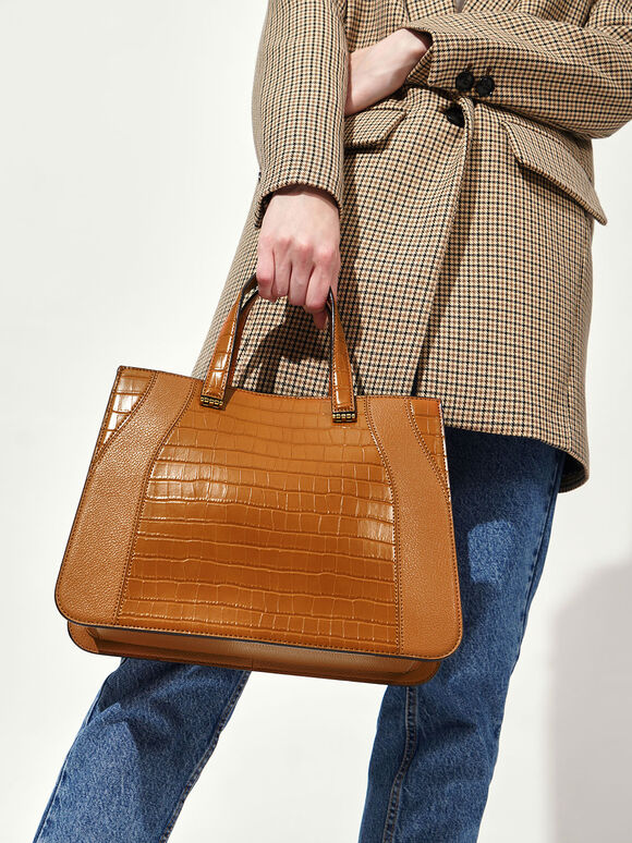 Croc-Effect Double Top Handle Tote Bag, Cognac, hi-res