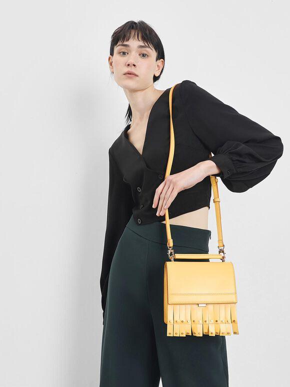 Fringe Trim Top Handle Bag, Yellow, hi-res