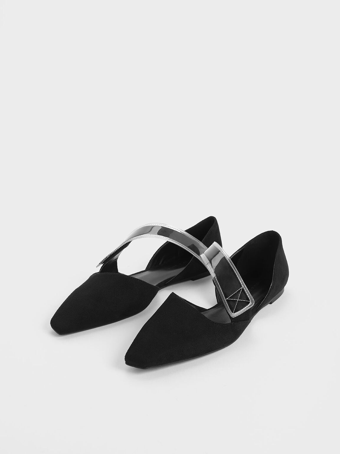 Asymmetric See-Through Strap Mary Jane Flats, Black, hi-res