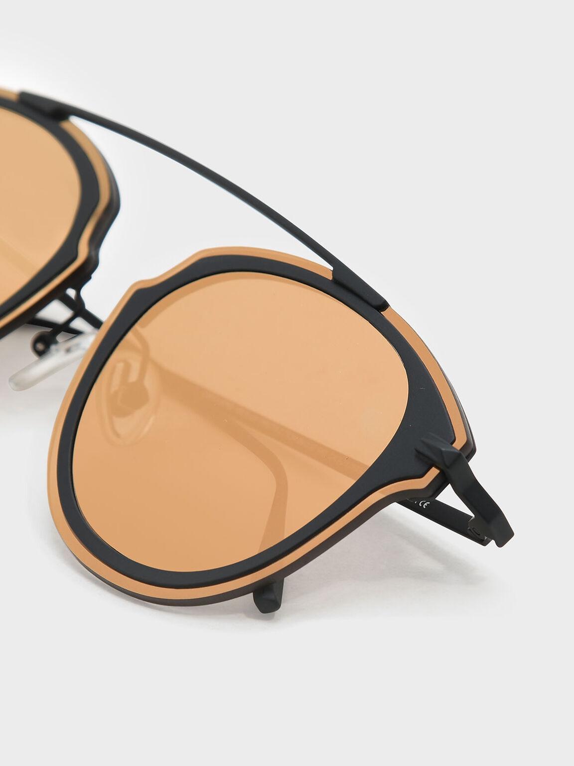 Angular Metal Frame Aviators, Gold, hi-res