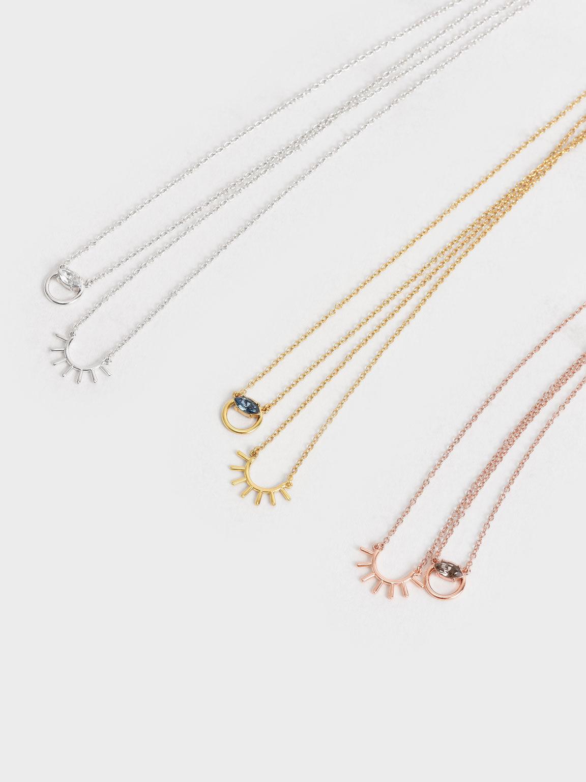 Swarovski® Crystal Pendant Princess Necklace, Gold, hi-res