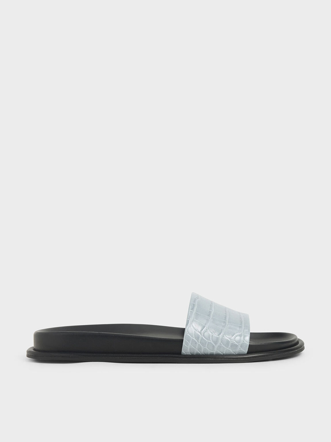 Croc-Effect Slide Sandals, Blue, hi-res