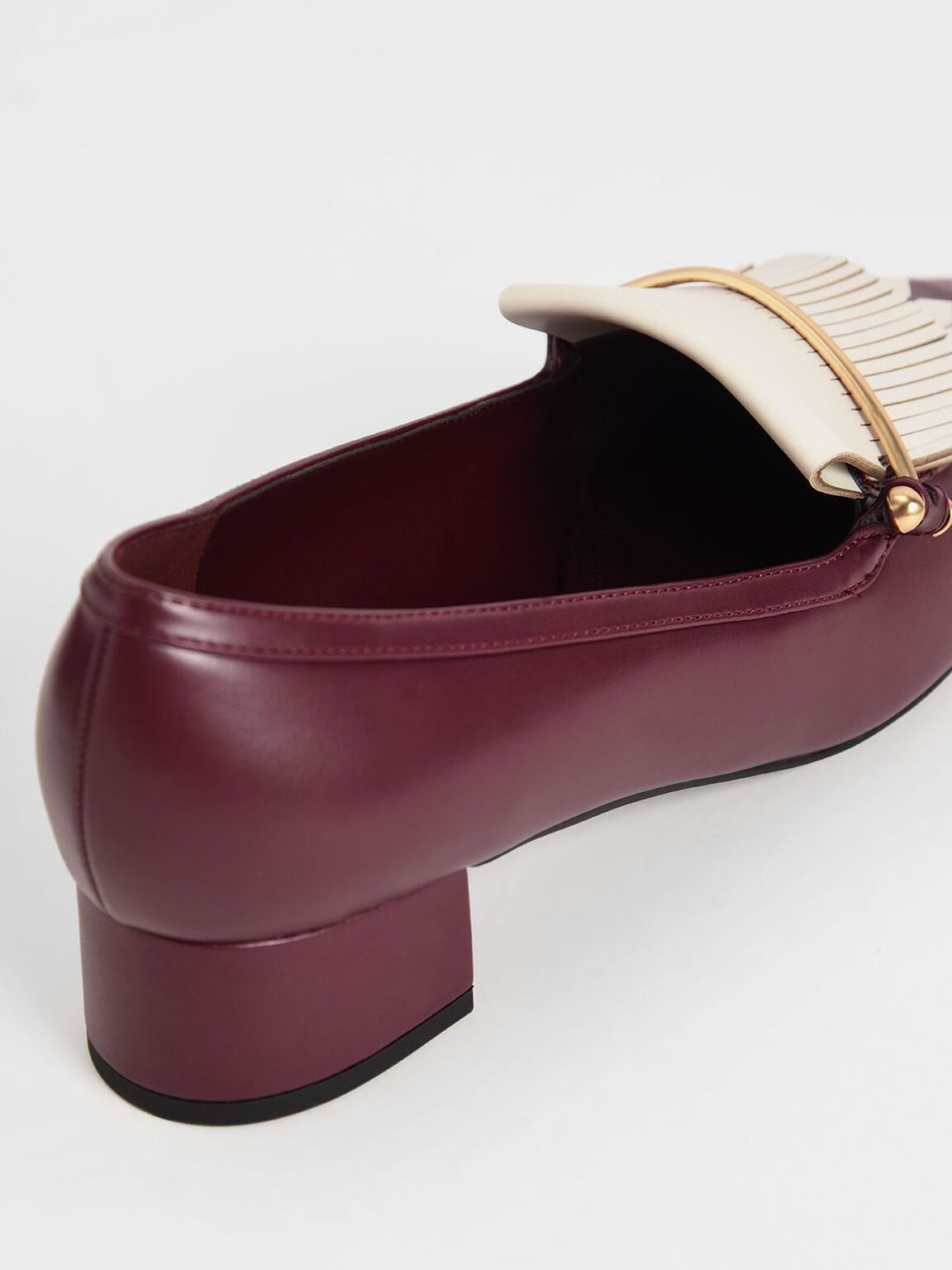 Two-Tone Fringe Loafers, Burgundy, hi-res