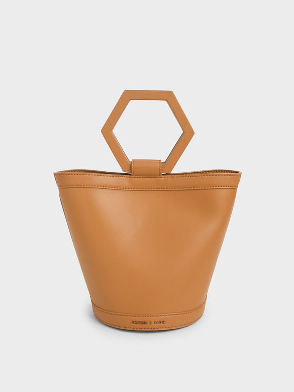 Geometric Handle Bucket Bag, Cognac, hi-res
