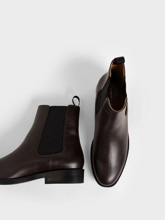 Round Toe Chelsea Boots, Dark Brown, hi-res
