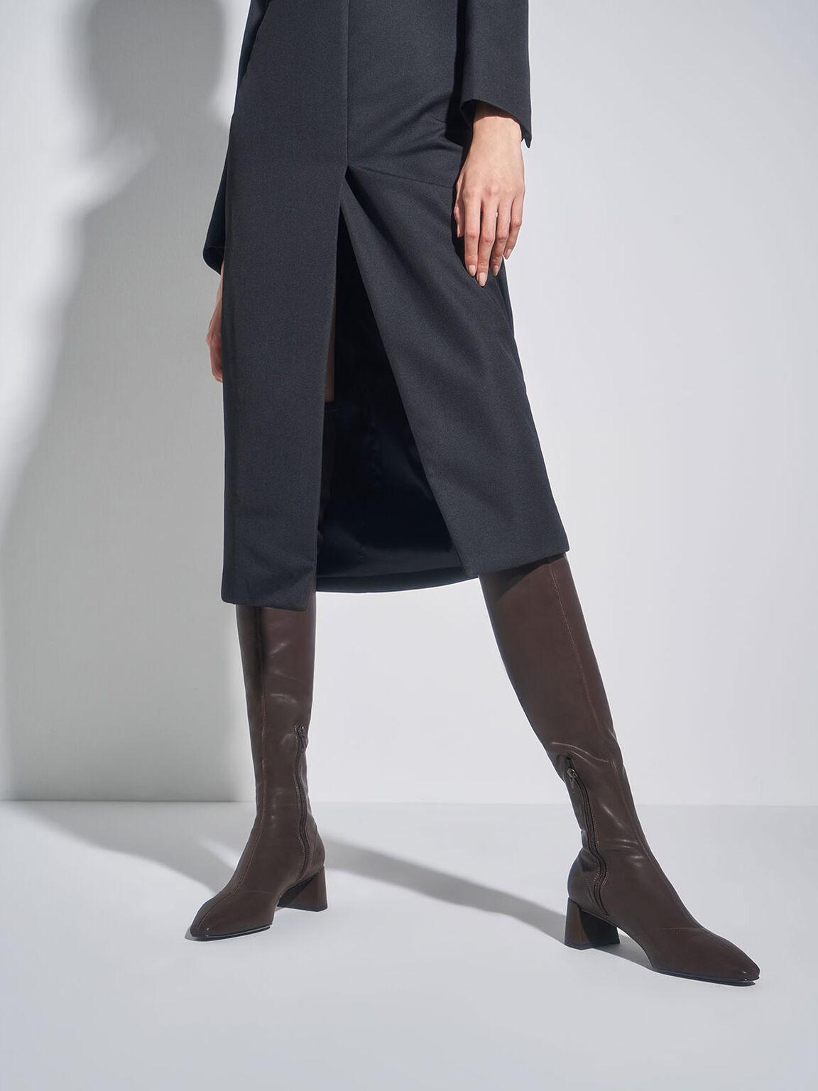 Thigh High Blade Heel Boots, Dark Brown, hi-res