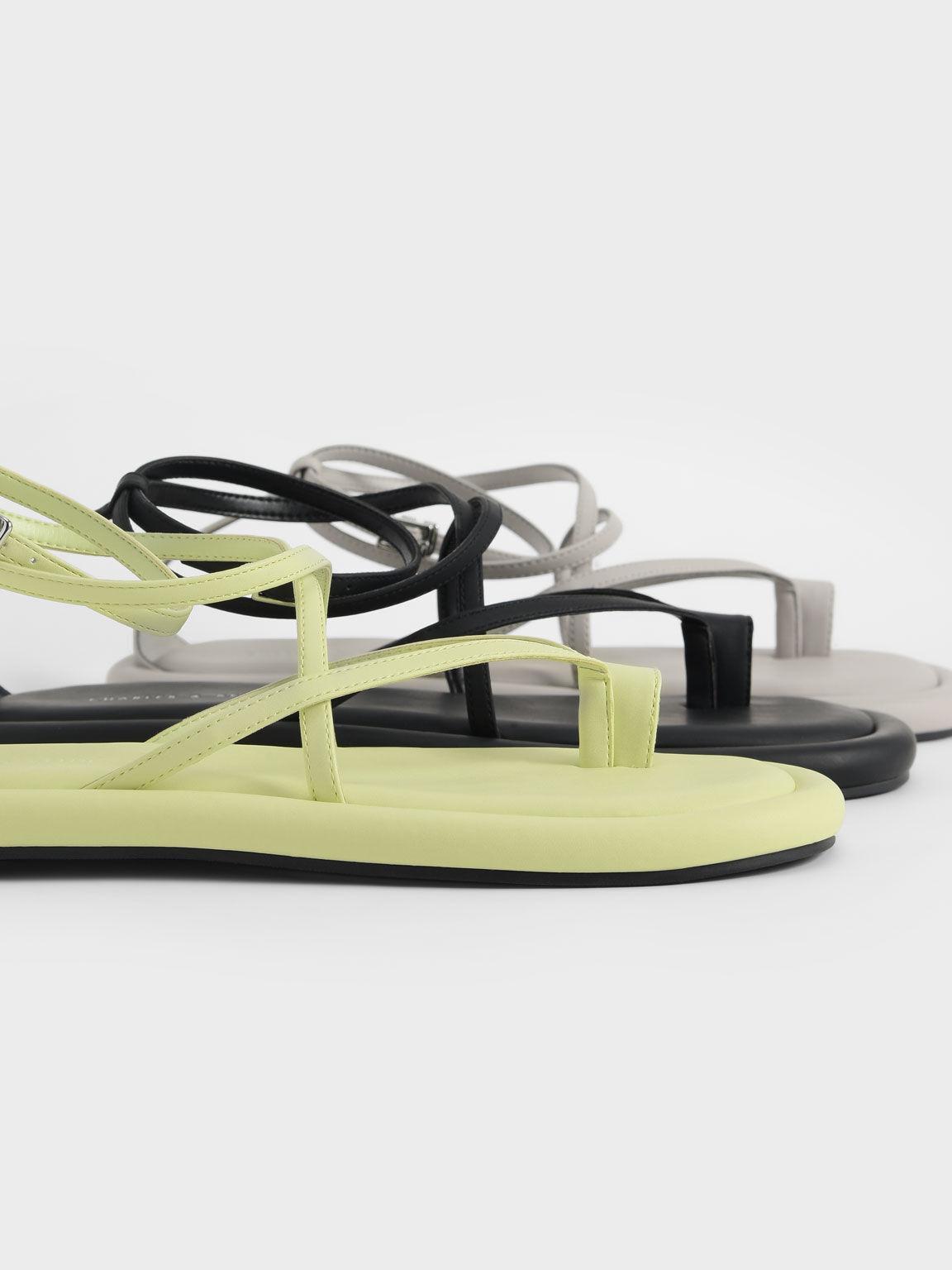 Padded Toe Loop Sandals, Grey, hi-res