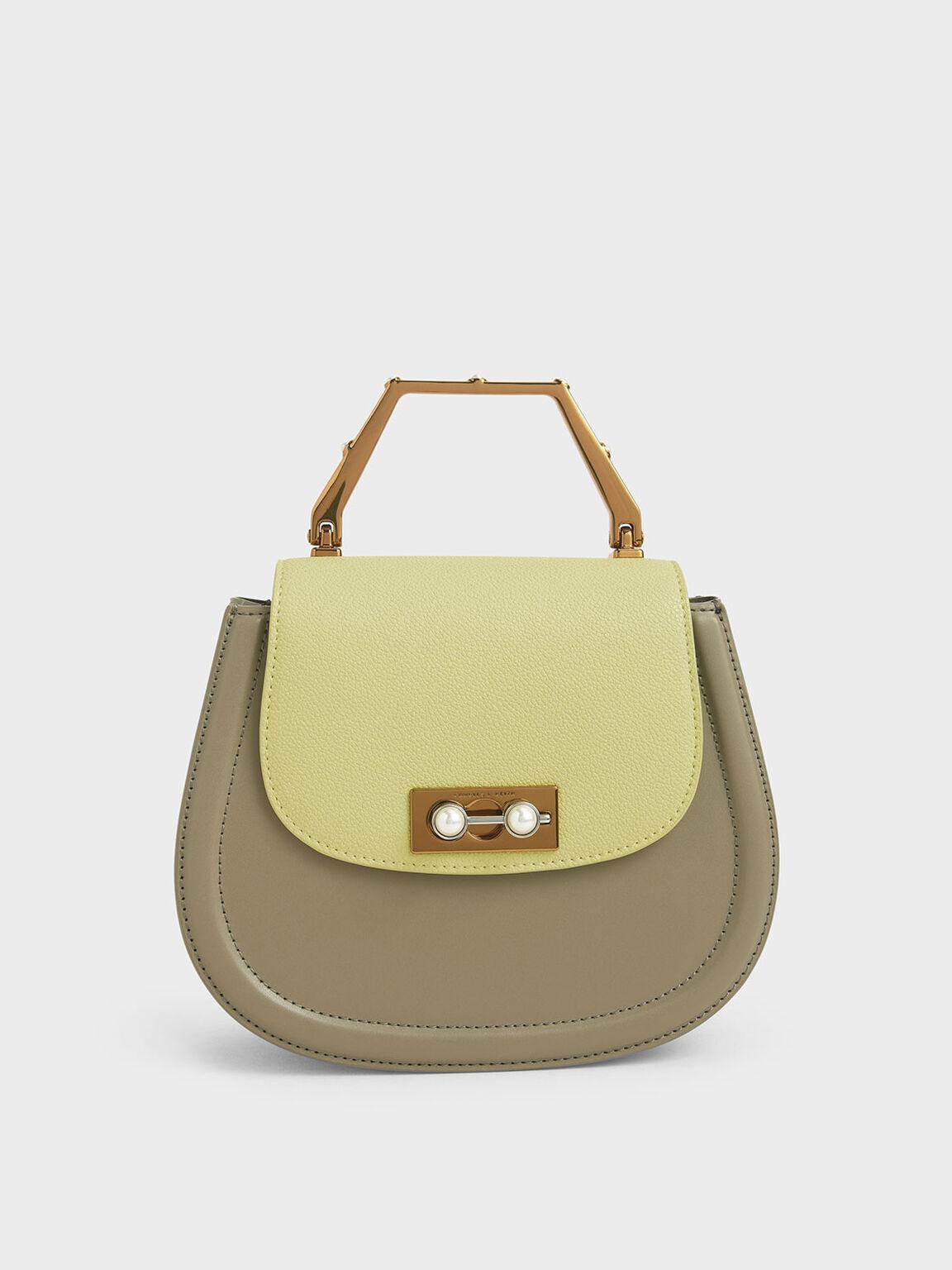 Geometric Top Handle Saddle Bag, Lime, hi-res
