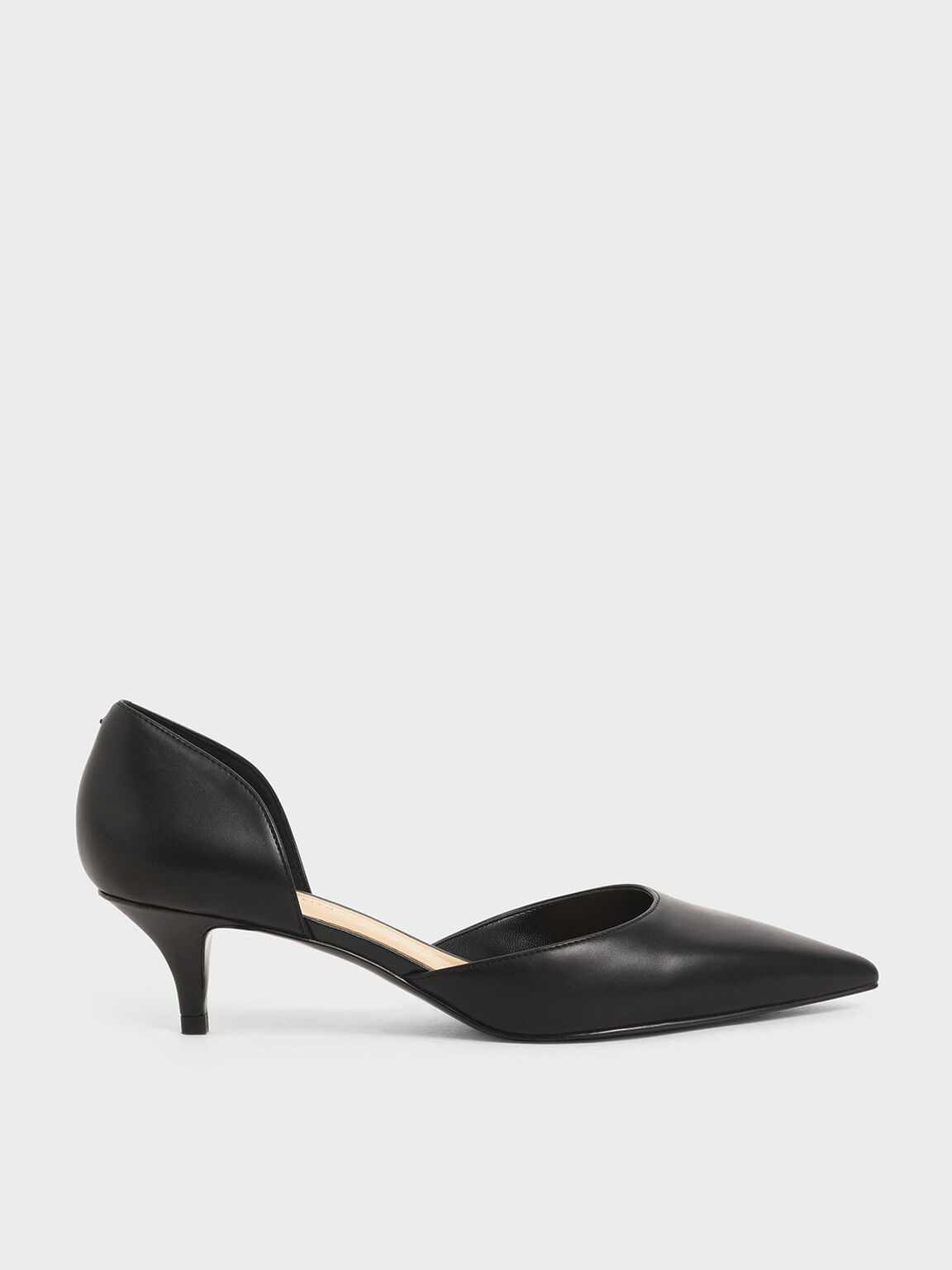 D'Orsay Kitten Heel Pumps, Black, hi-res