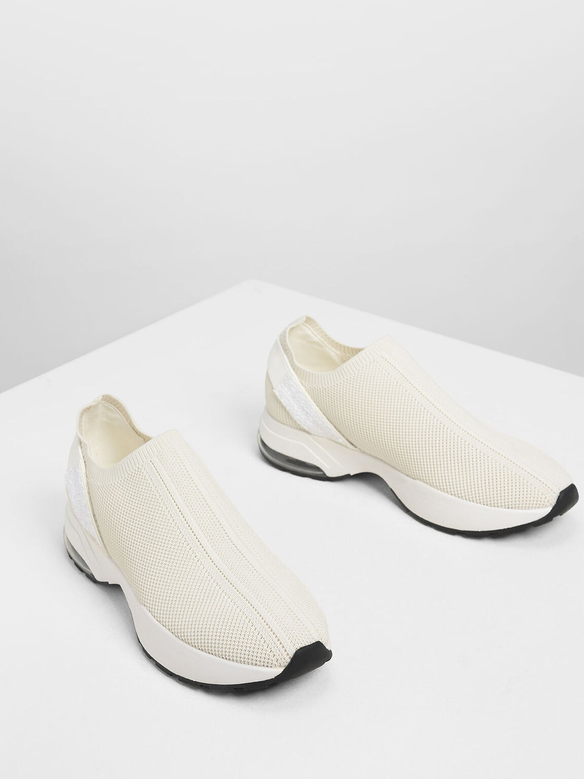 Knitted Sock Slip-On Sneakers, Cream, hi-res