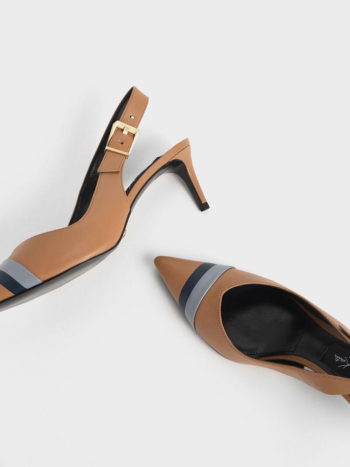 Striped Leather Slingback Heels, Caramel, hi-res