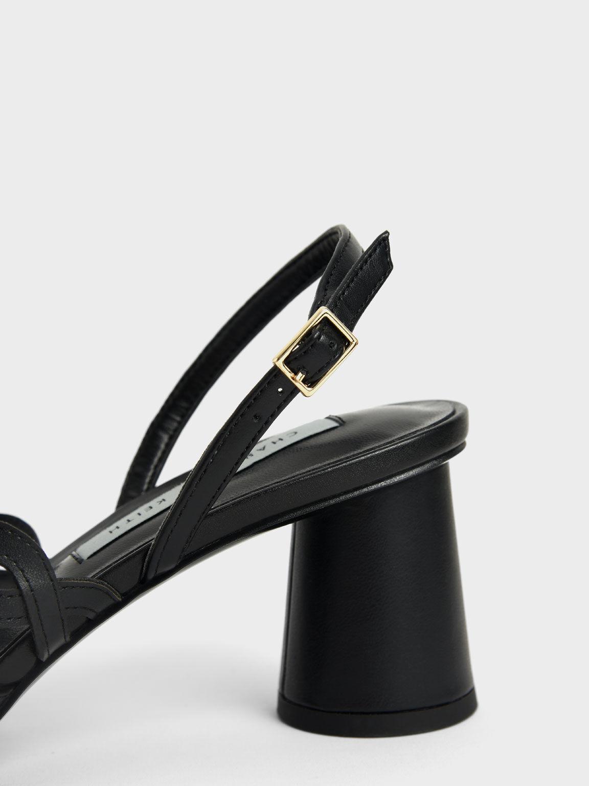 Woven Strap Slingback Pumps, Black, hi-res
