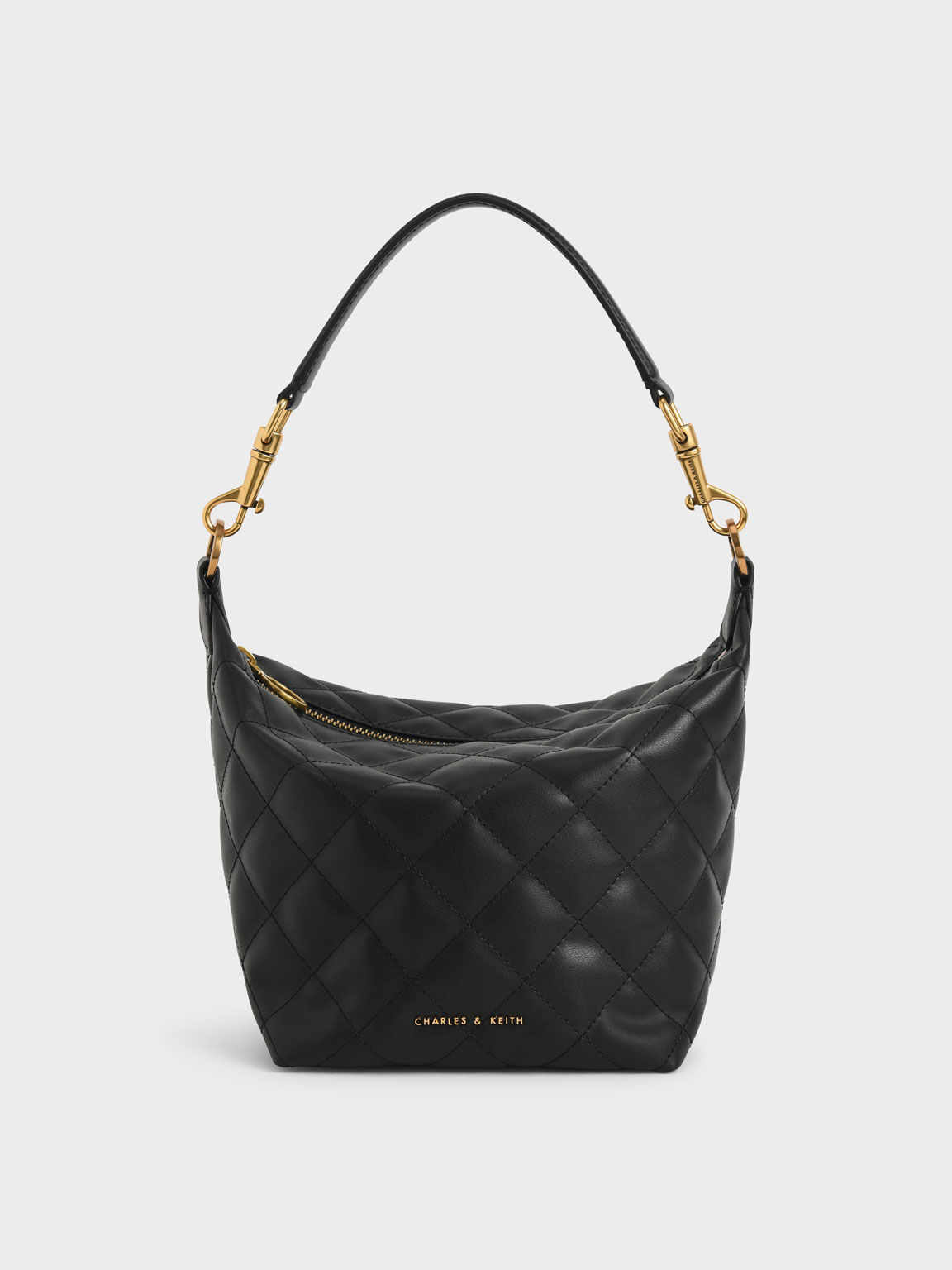 Quilted Hobo Bag, Black, hi-res