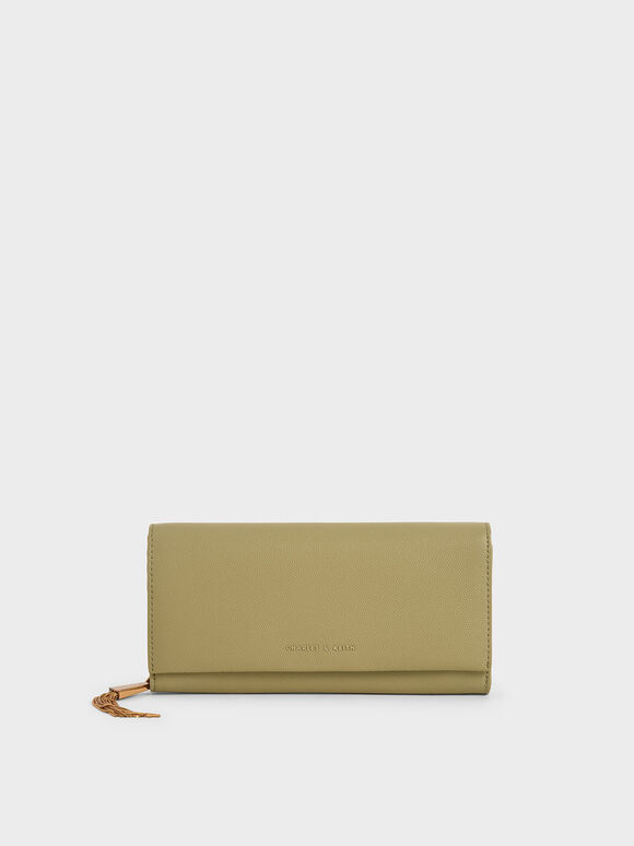 Tassel Detail Long Wallet, Sage Green, hi-res
