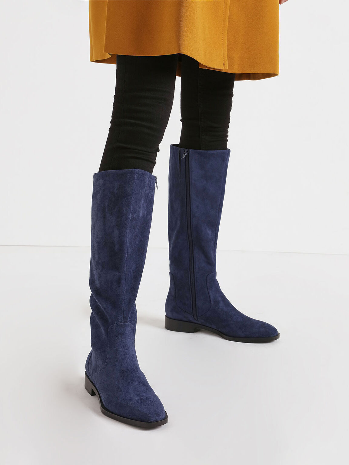 Textured Zip-Up Knee High Flat Boots, Blue, hi-res