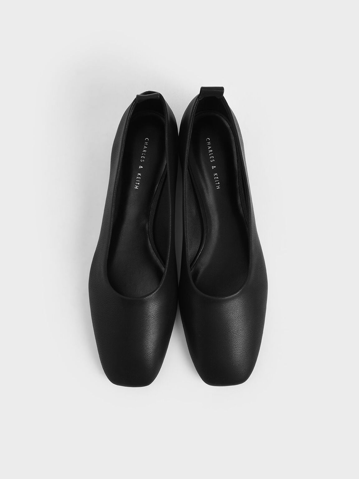 Square Toe Ballerina Flats, Black, hi-res