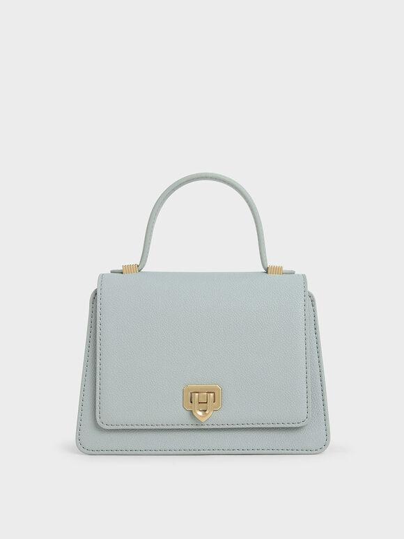 Metallic Push-Lock Top Handle Bag, Light Blue, hi-res