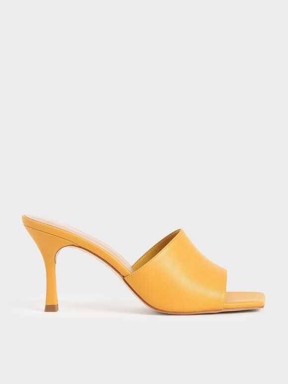 Square Toe Mules, Yellow, hi-res