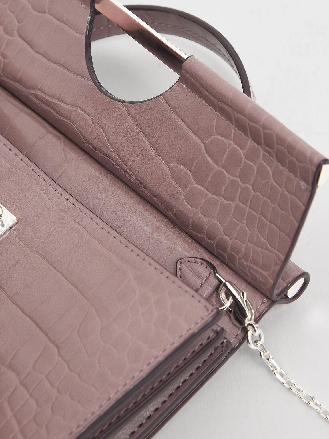 Croc-Effect Single Top Handle Wallet, Mauve, hi-res