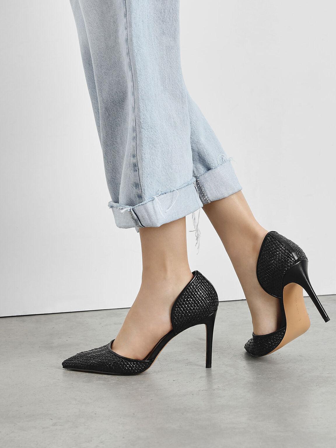 Raffia D'Orsay Heels, Black, hi-res