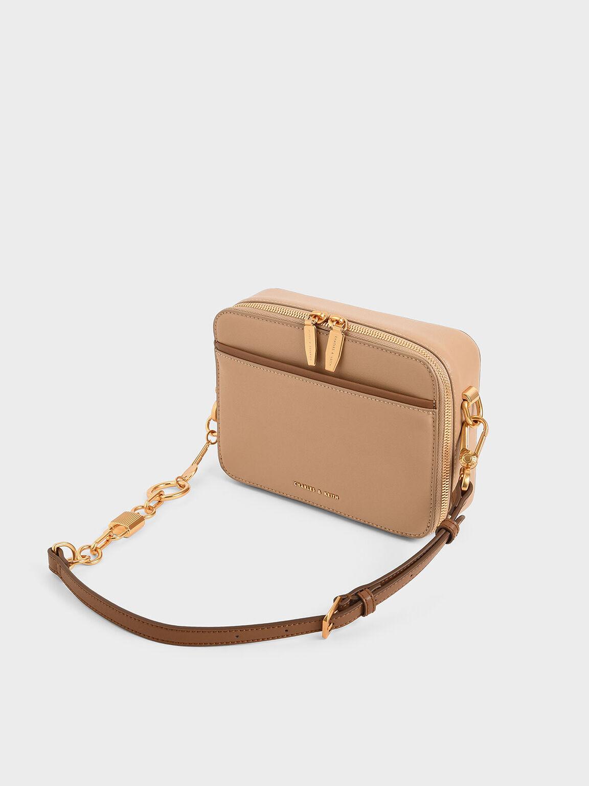 Double Zip Crossbody Bag, Beige, hi-res