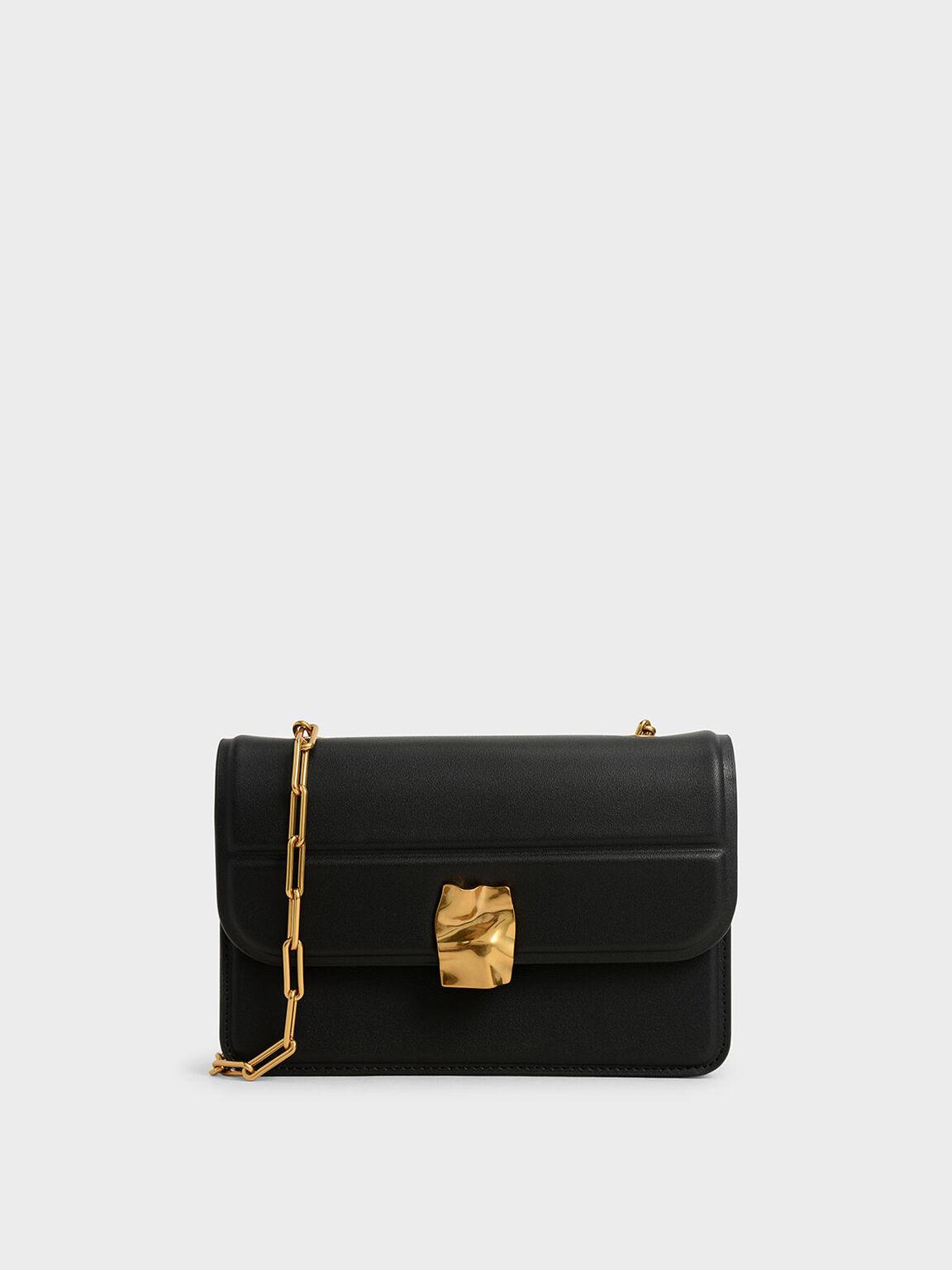 Textured Mini Wallet, Black, hi-res