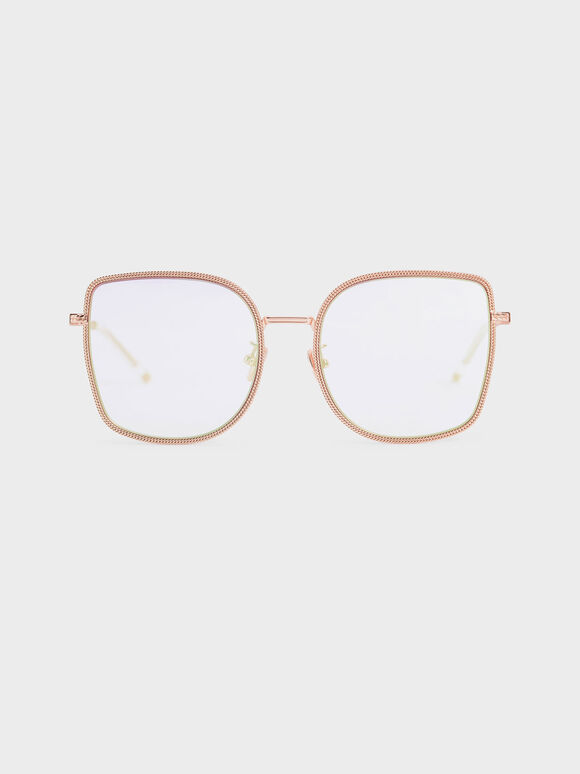 Geometric Butterfly Sunglasses, Rose Gold, hi-res