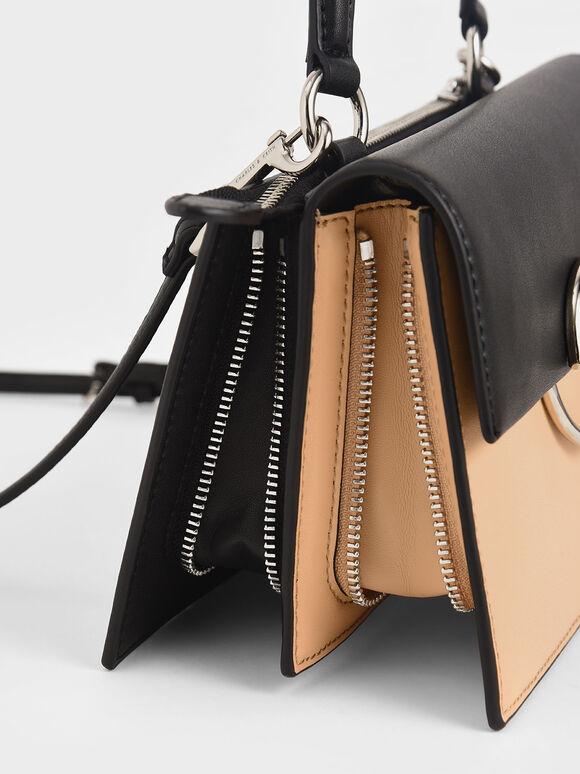 Two-Tone Ring Detail Top Handle Bag, Nude, hi-res