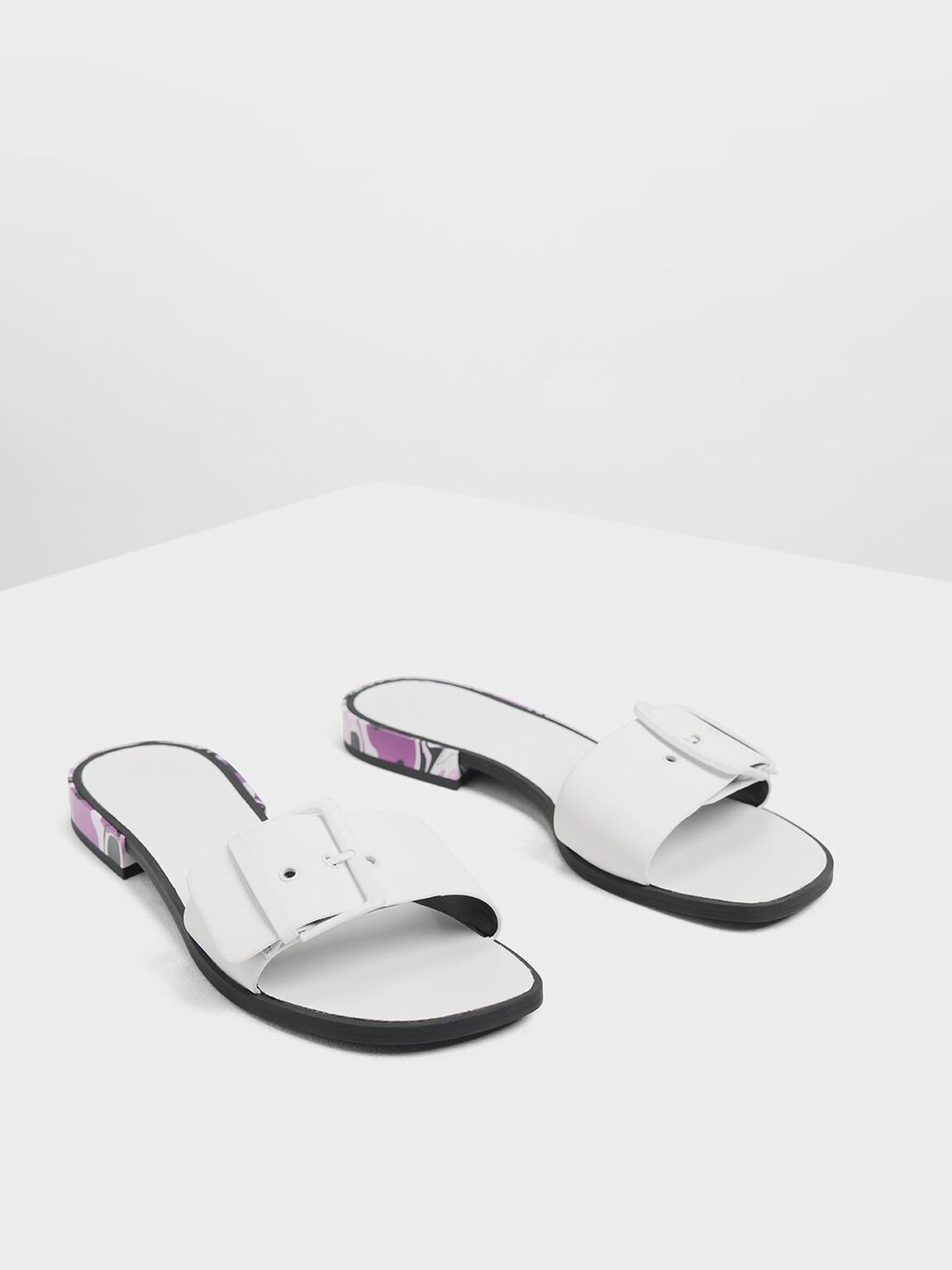 Buckle Sliders, White, hi-res