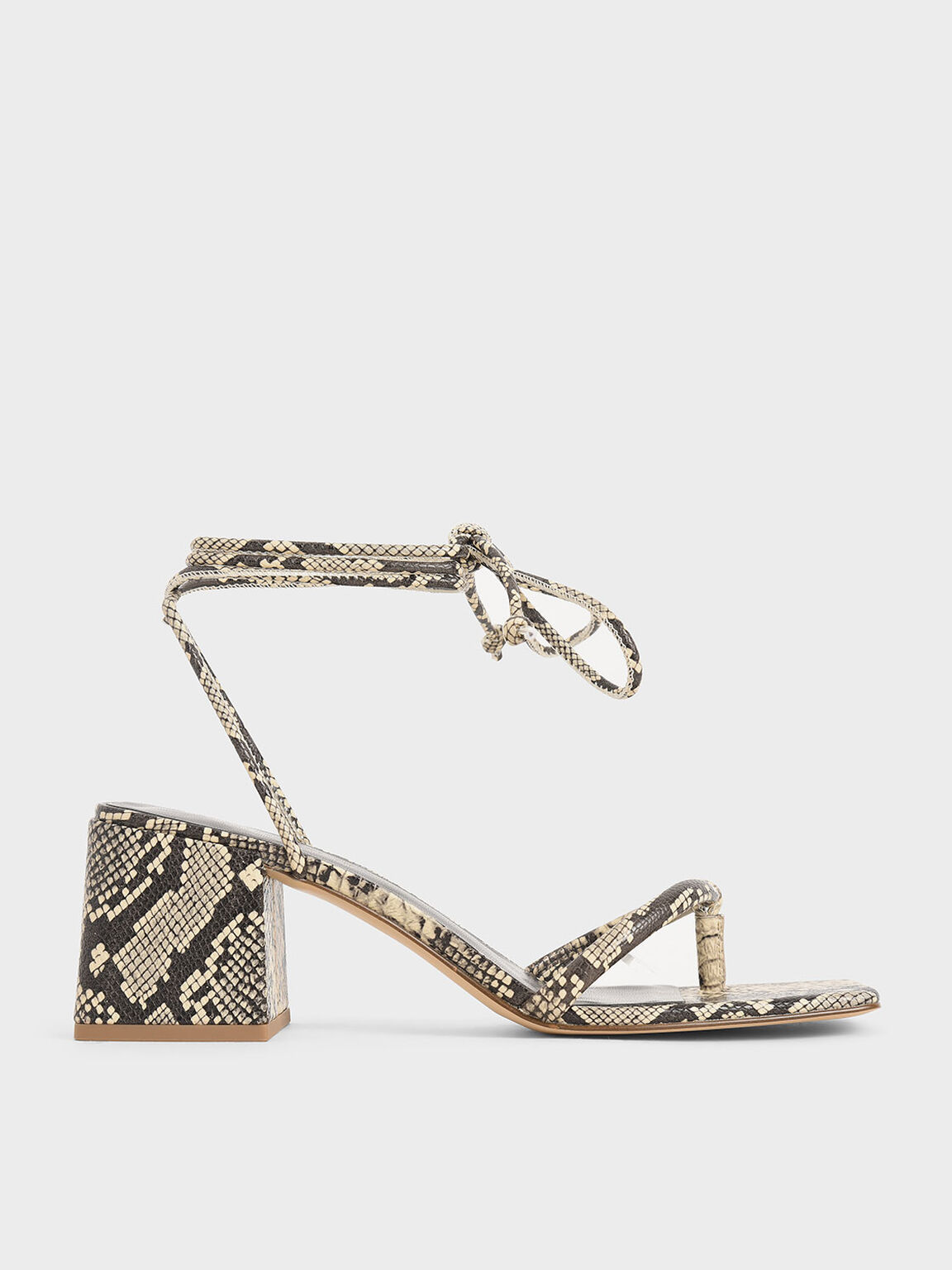 Snake Print Lace Up Block Heel Sandals, Multi, hi-res