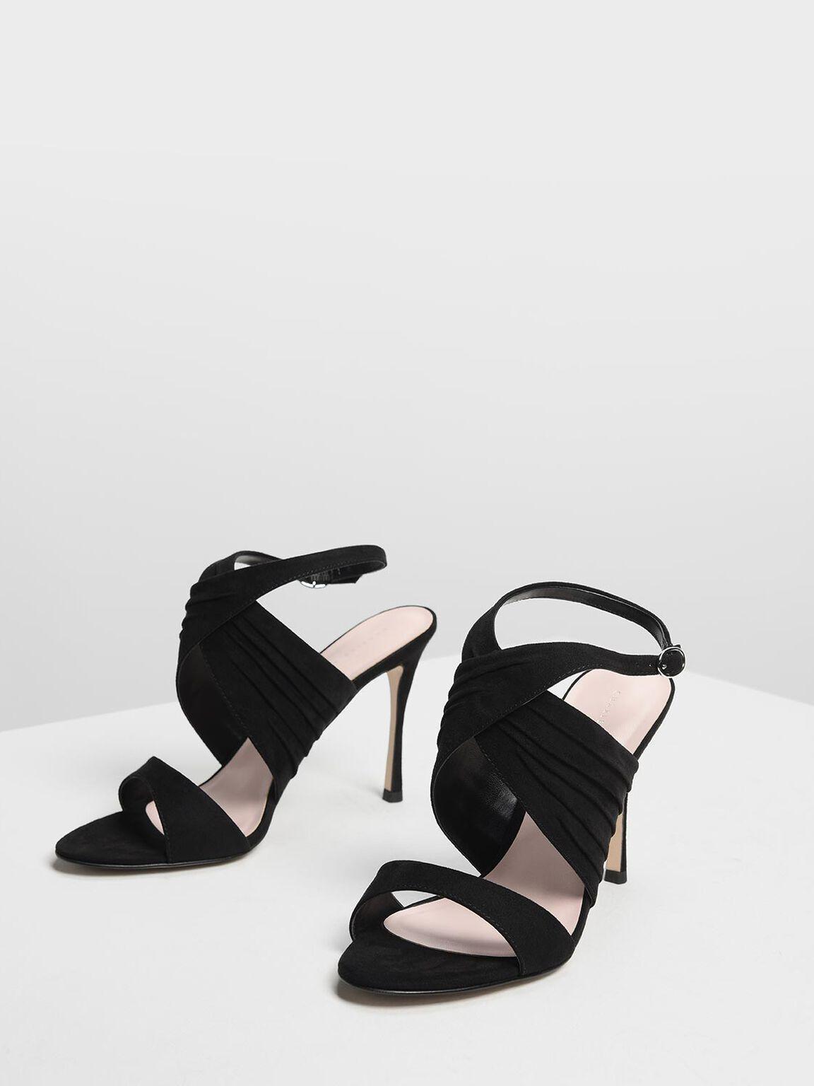 Criss Cross Pleated Heels, Black, hi-res